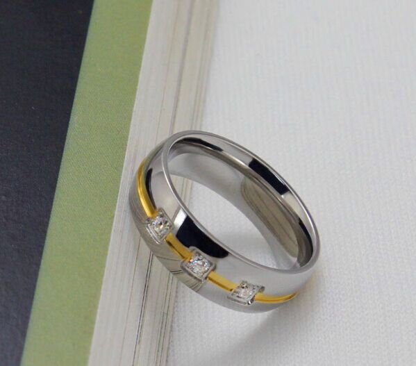 USA 6mm Silver Gold Center Titanium Stainless Steel Promise Wedding Ring Band
