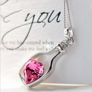 USA Silver Plated Women Ladies Fashion Love Crystal Drift Bottles Necklace