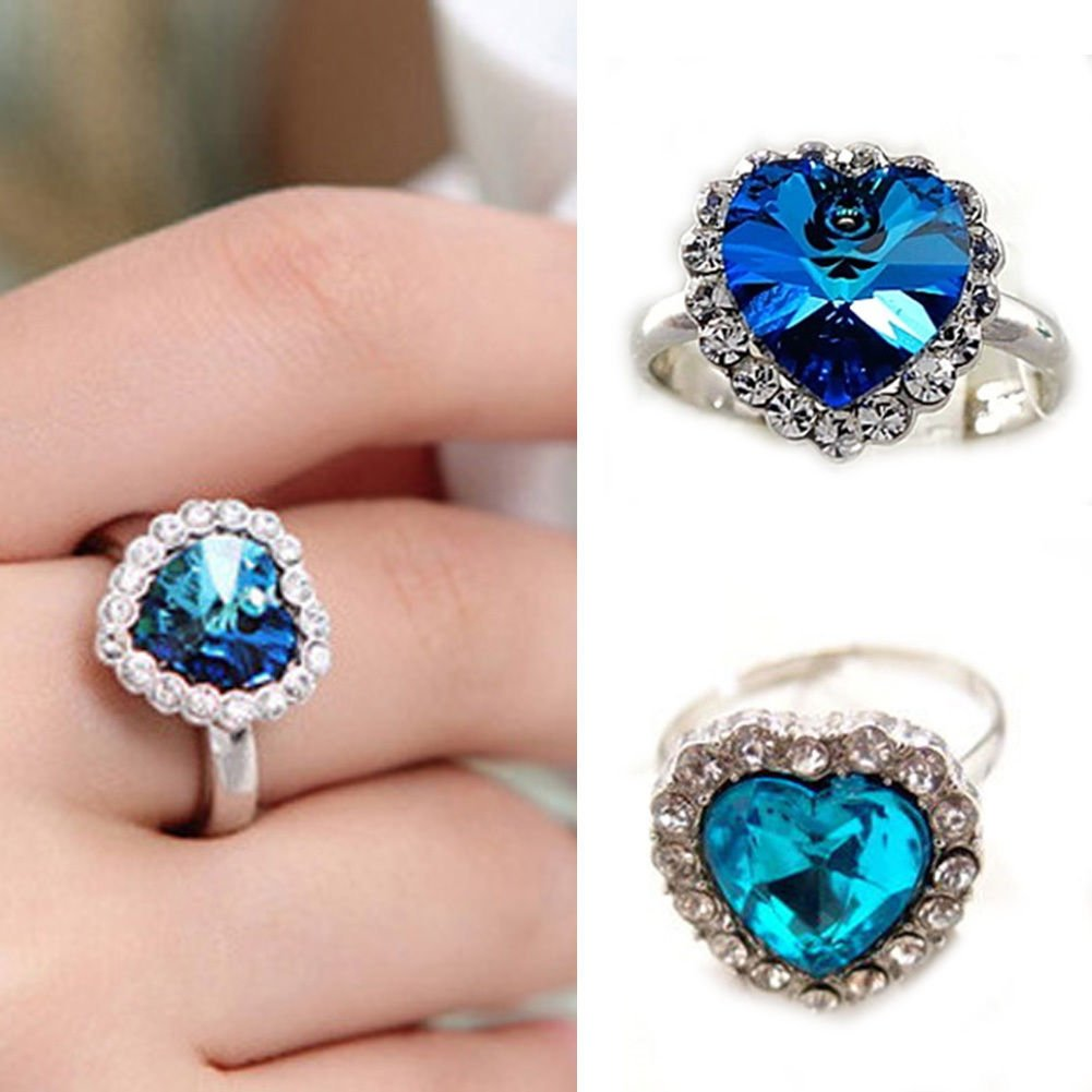 USA Women Fahion Romantic Blue Heart Shape Crystal Silver Plated Adjustable Ring