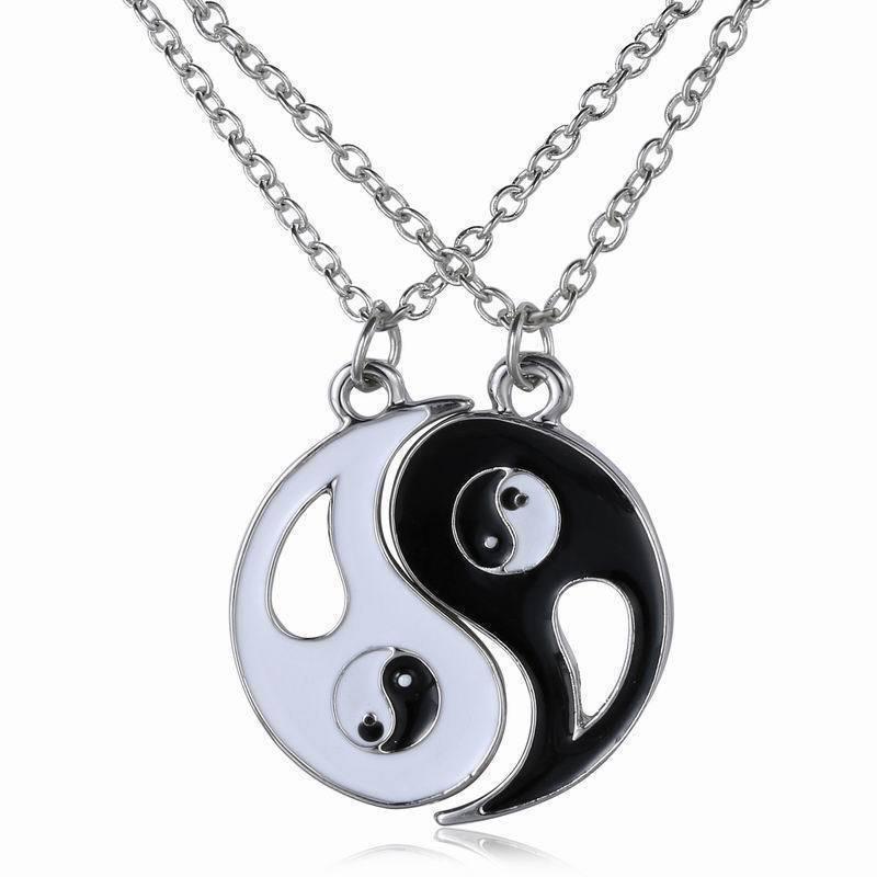 USA 2PCS Yin Yang BA Gua Chinese Tai Chi Pendant Lucky Charm Couple Necklace
