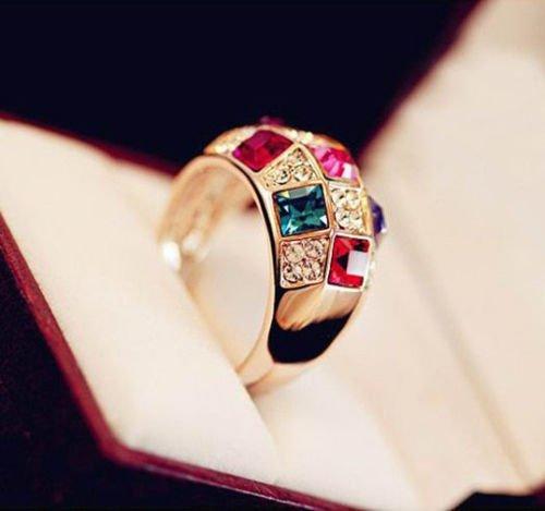 Luxury Women Colorful Rhinestone Crystal Finger Dazzling Ring Jewelry Size 7