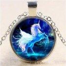 USA Moonlight Unicorn Photo Cabochon Glass Silver Chain Pendant Necklace