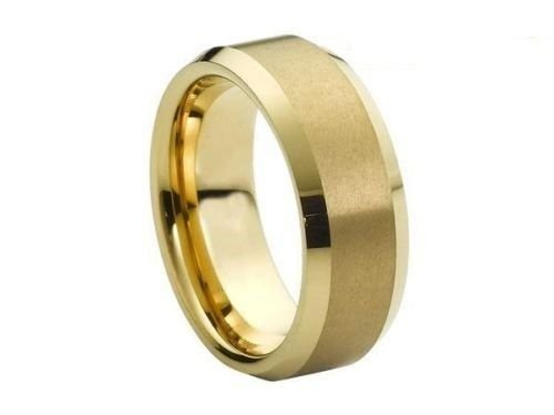 8MM Gold Tungsten Carbide Beveled Edge Wedding Engagement Anniversary Ring Band
