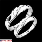 USA Adjustable Opening Love Wing Couple Rings Her and His Promise Matching Ring