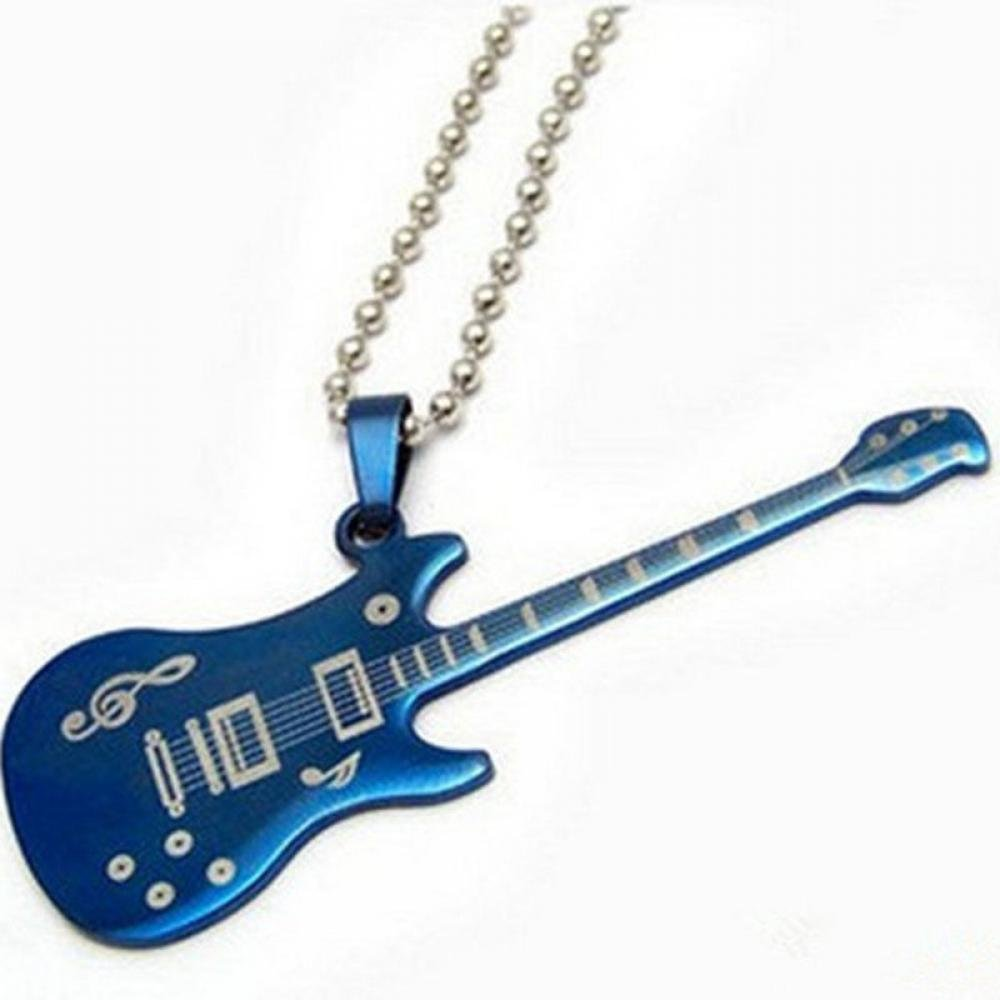 Fashion Blue Stainless Steel Guitar Charm Pendant Guitar Necklace