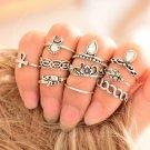 10pcs Women Punk Vintage Knuckle Rings Tribal Ethnic Hippie Stone Midi Ring Set