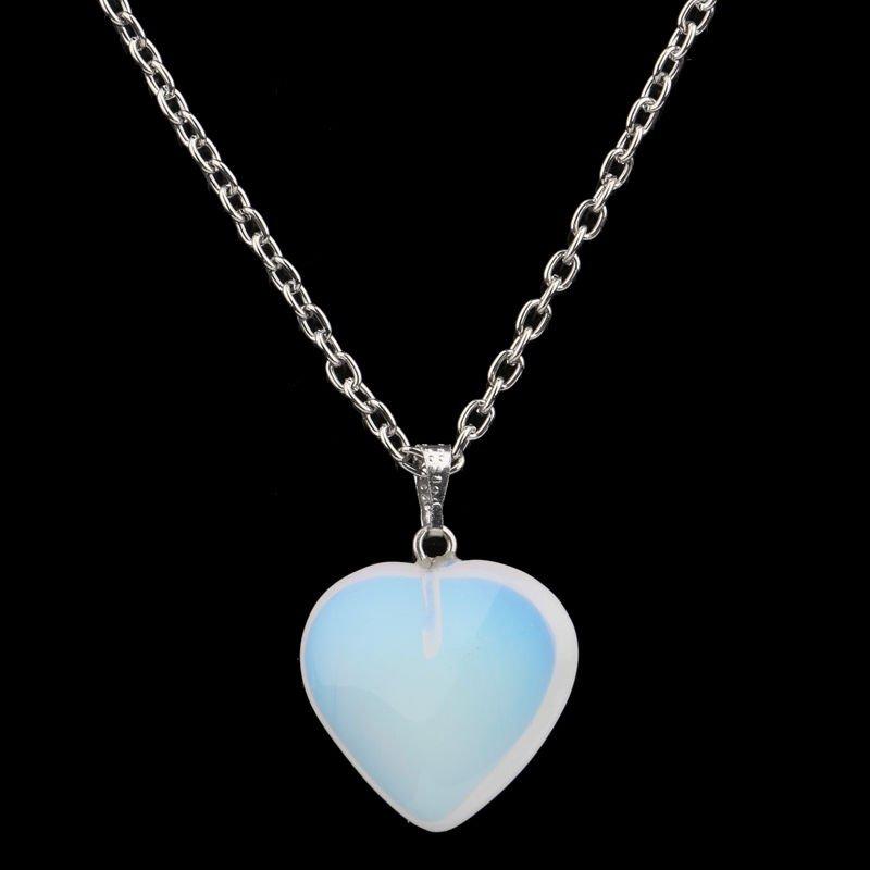 USA White Opal Heart Simulated Quartz Stone Pendant Necklace Party Wedding Charm