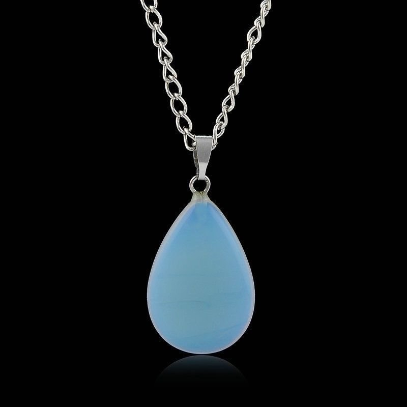 USA New Natural Opal Stone Crystal Healing Waterdrop Pendant Necklace