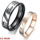 USA 2PCS True Love Stainless Steel Couple Ring Engagement Promise Wedding Rings