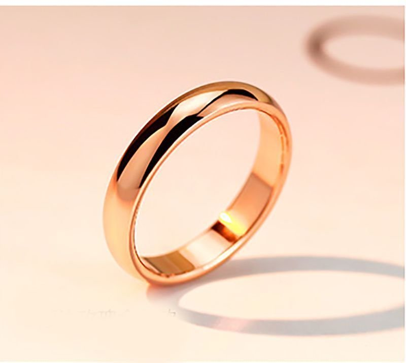4mm 18K Rose Gold Plated Promise Engagement Wedding Women Ring Band