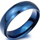 6mm Blue Titanium steel Carbide Beveled Edge Engagement Promise Ring Band