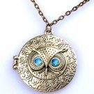 USA Vintage Bronze Blue Eye Owl Antique Locket Long Chain Pendants Necklace