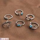 US 6pcs set Silver Plated Above Knuckle Band Mid Midi Ring Tip Finger Stacking