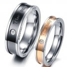 2PCS Eternal Love Titanium Stainless Steel Ring Couple Promise Engagement Rings
