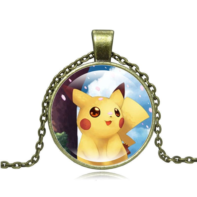 USA Pokemon Go Pikachu Photo Cabochon Glass Cute Pikachu Chain Pendant Necklace