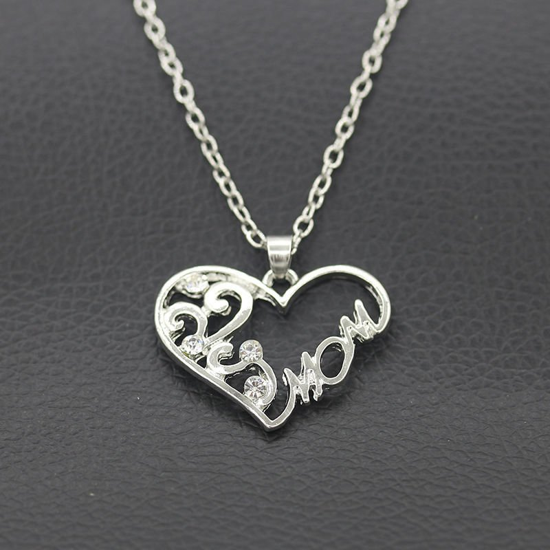 USA Silver Plated Rhinestone Heart MOM Necklace Mothers Day Birthday Gift