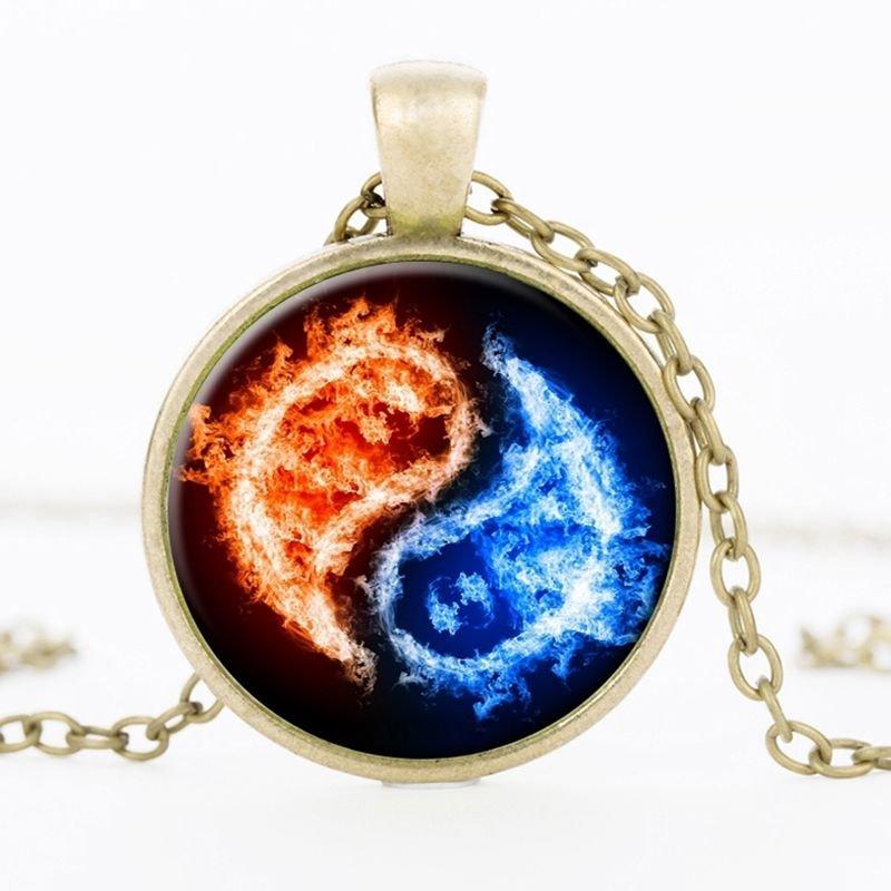 USA Bronze, Silver, Black Chain Yin Yang Photo Cabochon Glass Pendant Necklace
