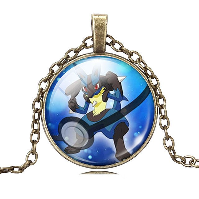 USA Pokemon Go Glass Cabochon Lucario Necklace Pendant Dome Chain Charm Fashion