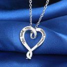 USA Fashion Silver Plated Chain Heart Shape Engagement Promise Necklace Pendant