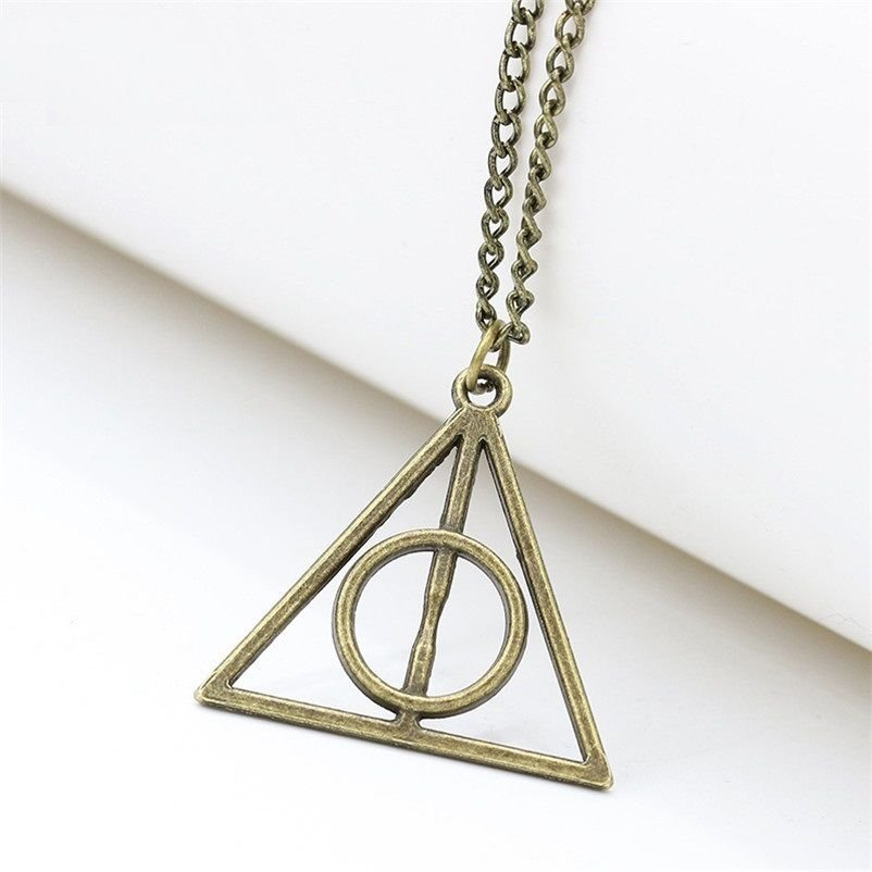 USA Harry Potter Necklace Deathly Hallows Bronze Triangle Pendant Sweater Chain