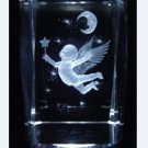 3D Laser Etched Crystal Paperweight Cherub with Moon Figure Display+Light Base