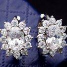 Women Platinum white Gold Filled zircon Classic Crystal shiny Hoop Earrings