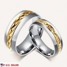 USA 2PCS 18K Gold Titanium Steel Couple Promise Engagement Wedding Bands Rings