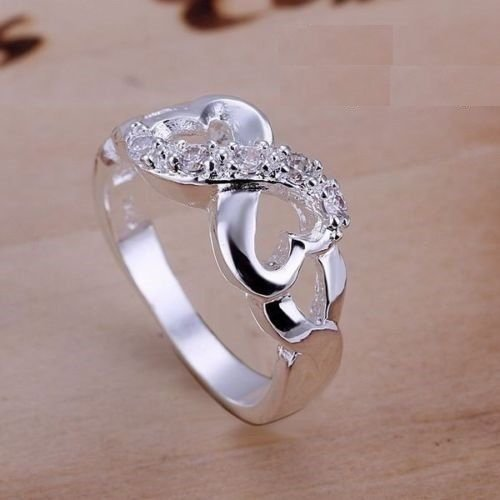 USA 925 Sterling Silver Plated Infinity Promise Engagement Wedding Ring Band