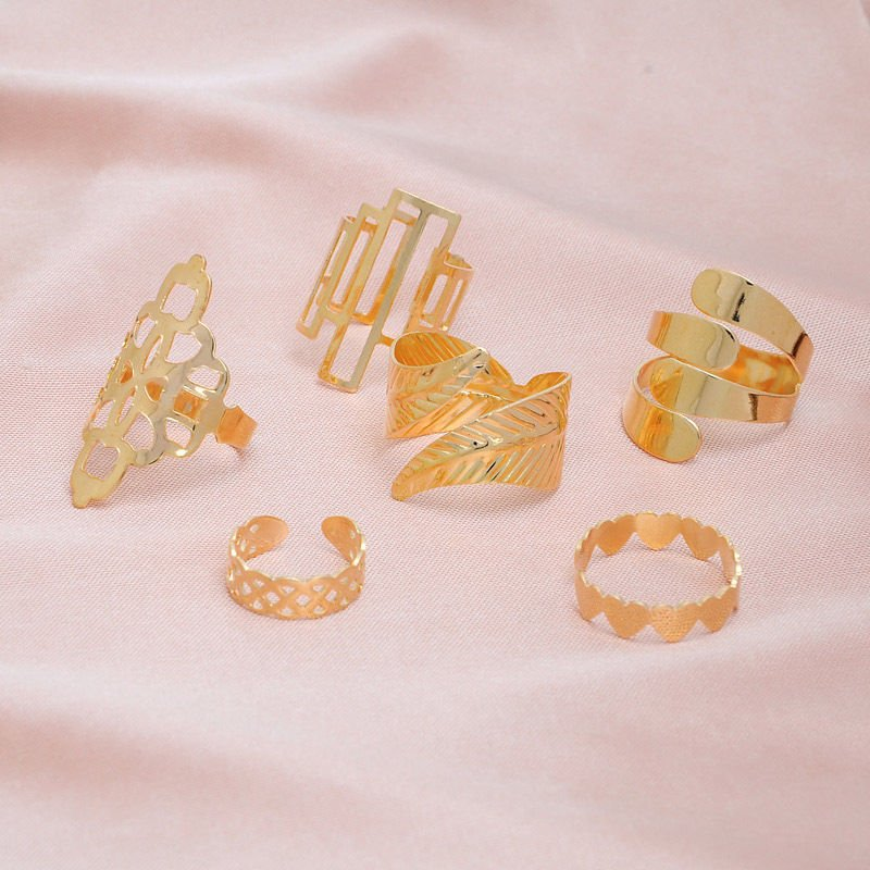 USA 6PCS Bridal Set Midi Ring Geometric Leaf Boho Hollow Flower Mid Finger Ring