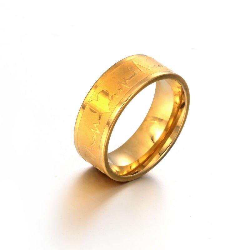USA 18K Gold Titanium Steel Heartbeat Promise Wedding Engagement Ring Band