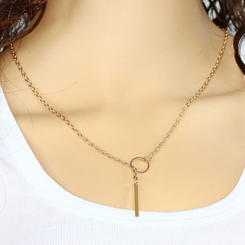 USA 18k Gold Plated Gold Bar Circle Lariat Necklace Simple Personality Jewelry