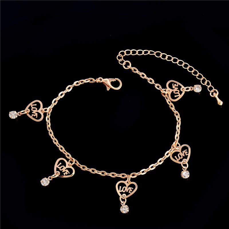 USA Love Heart Women Gold Plated Anklet Chain Ankle Bracelet Anklets Jewelry