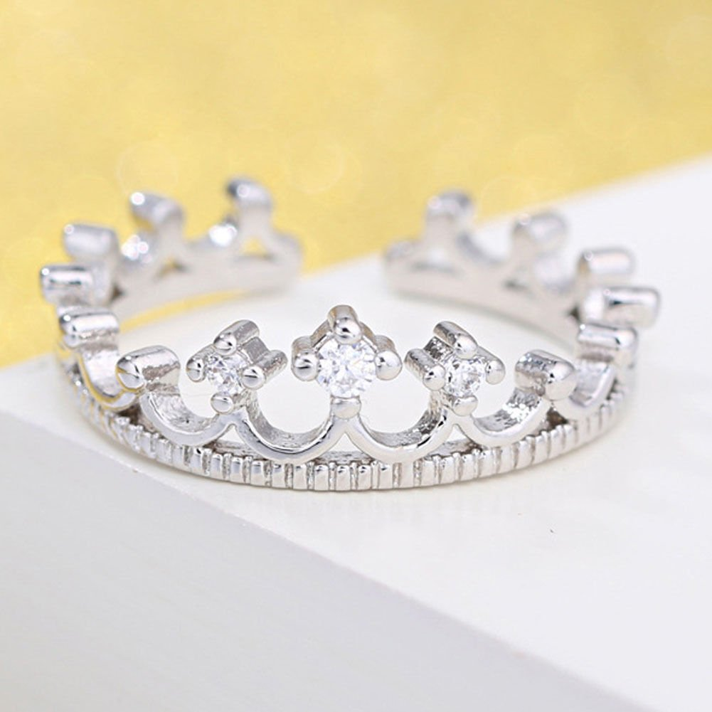 New Princess Crown Ring Fashion Lady Opening Silver Plated Precious Crystal Ring