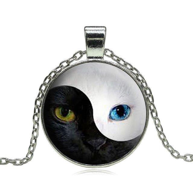 USA Yin Yang Cat's Eye Cabochon Glass Necklace Fashion Jewelry Pendants