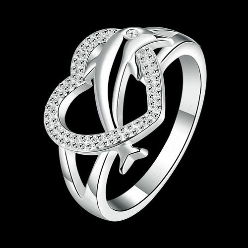 USA Women Solid Cute Dolphin Silver Plated Love Heart Ring Jewelry Lover Gift