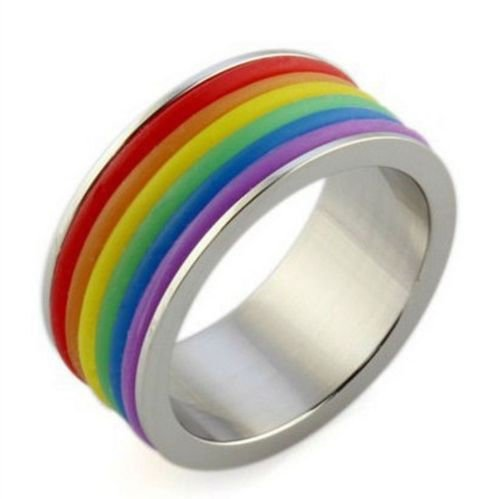 USA Unisex 9mm Multicolor Stainless Steel Personalized Rainbow Gay Ring Band
