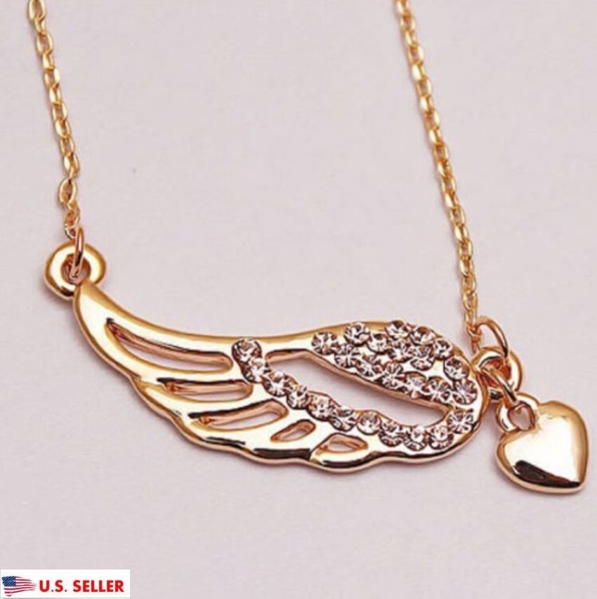 USA Love Heart Chain Women Jewelry Angel Wing Necklace Charm Fashion Pendant New