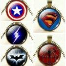 USA Superhero Captain America Spiderman Batman Superman The Flash Chain Necklace