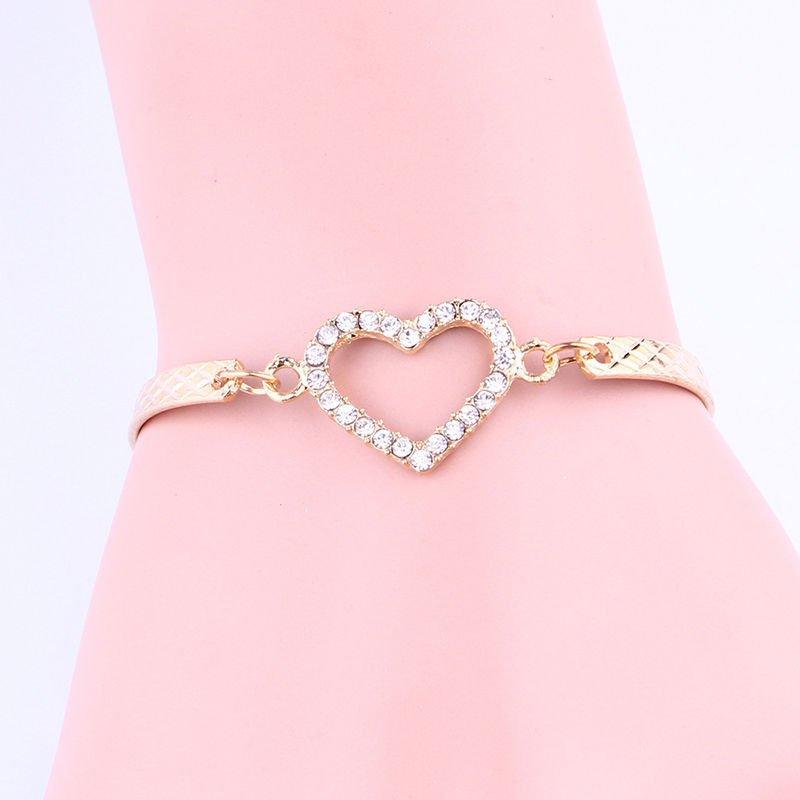 USA New Fashion Women Cute Gold Love Heart Bangle Cuff Bracelet Jewelry Gift