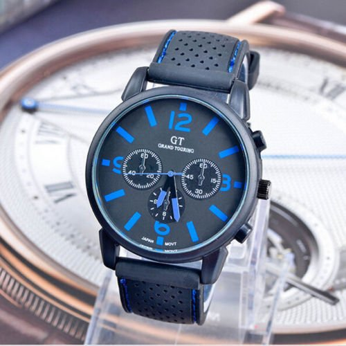 GT Luxury Stainless Steel Sport Military Racing Quartz Analog Men Wrist Watch