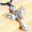 USA Angel Wing Rhinestone Titanium Cross Pendant Men Necklace Fashion Jewelry