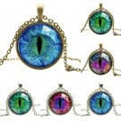 US Vintage Colored Dragon Cat Eye Cabochon Glass Chain Pendant Necklace Jewelry