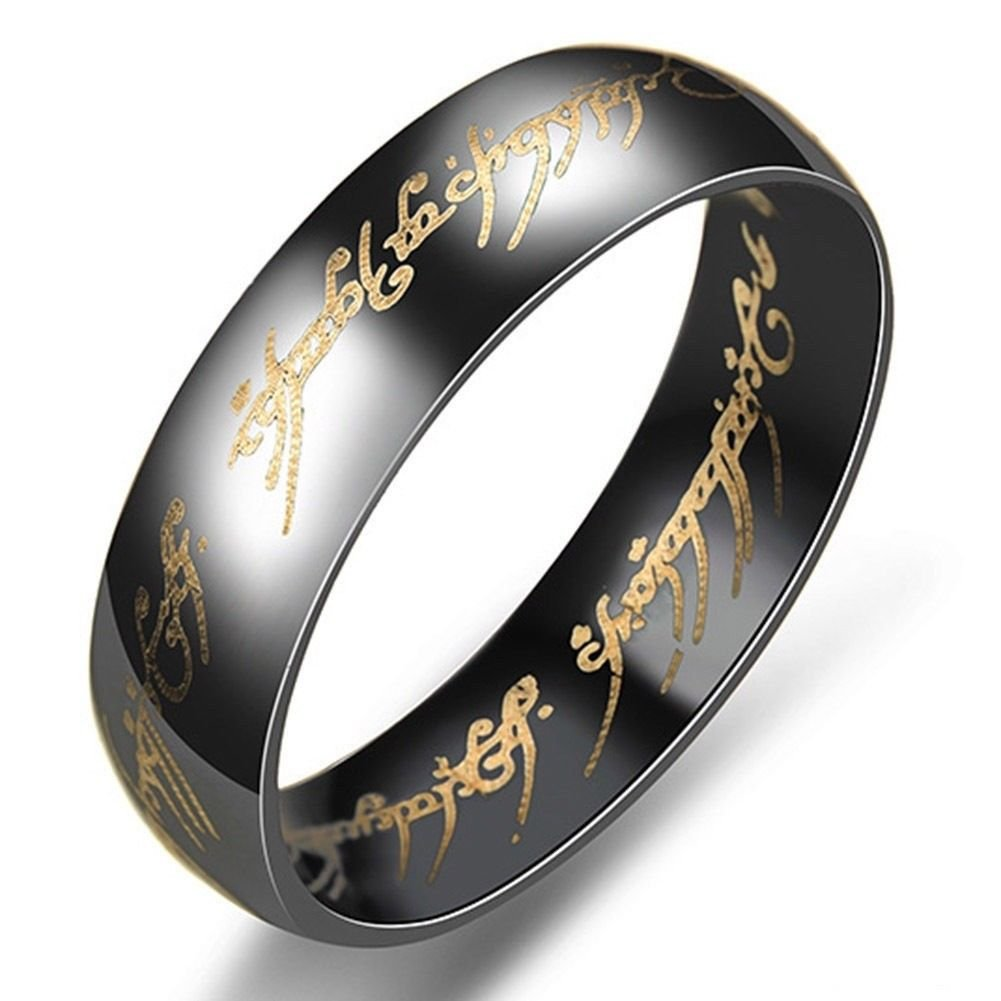 6mm Lord of the Rings Black Ring Titanium Stainless Steel Men's Ring Size 6-13