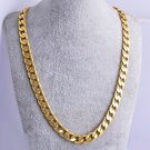 "USA 18K Yellow Gold Plated Link Cuban Chain Necklace 24"" 7mm Thick Men's Jewelry"