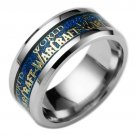 Titanium Steel Blue Carbon Fiber Gold Wolrd of Warcraft Silver Ring Band