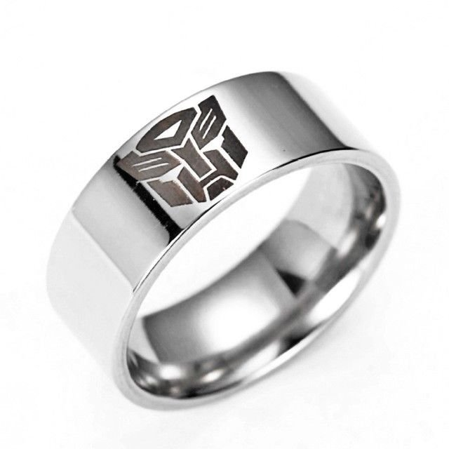 8mm Silver Color Stainless Steel Decepticon Transformer Men Ring Band Size 6-12
