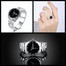 Fashion Women Men Rings Silver Plated Watch Shaped Zircon Finger Ring Size 6-10