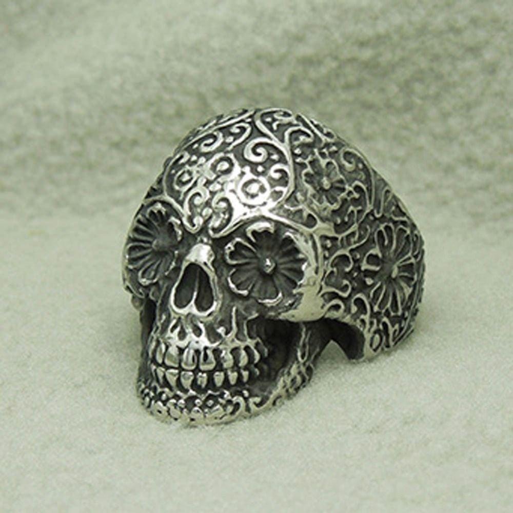 Men Skull Rings Punk Style Flower Skull Biker Ring Fashion Skeleton Jewelry