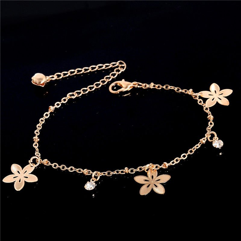 Fashion Women Gold Plated Sakura Crystal Ankle Bracelet Anklet Foot Jewelry
