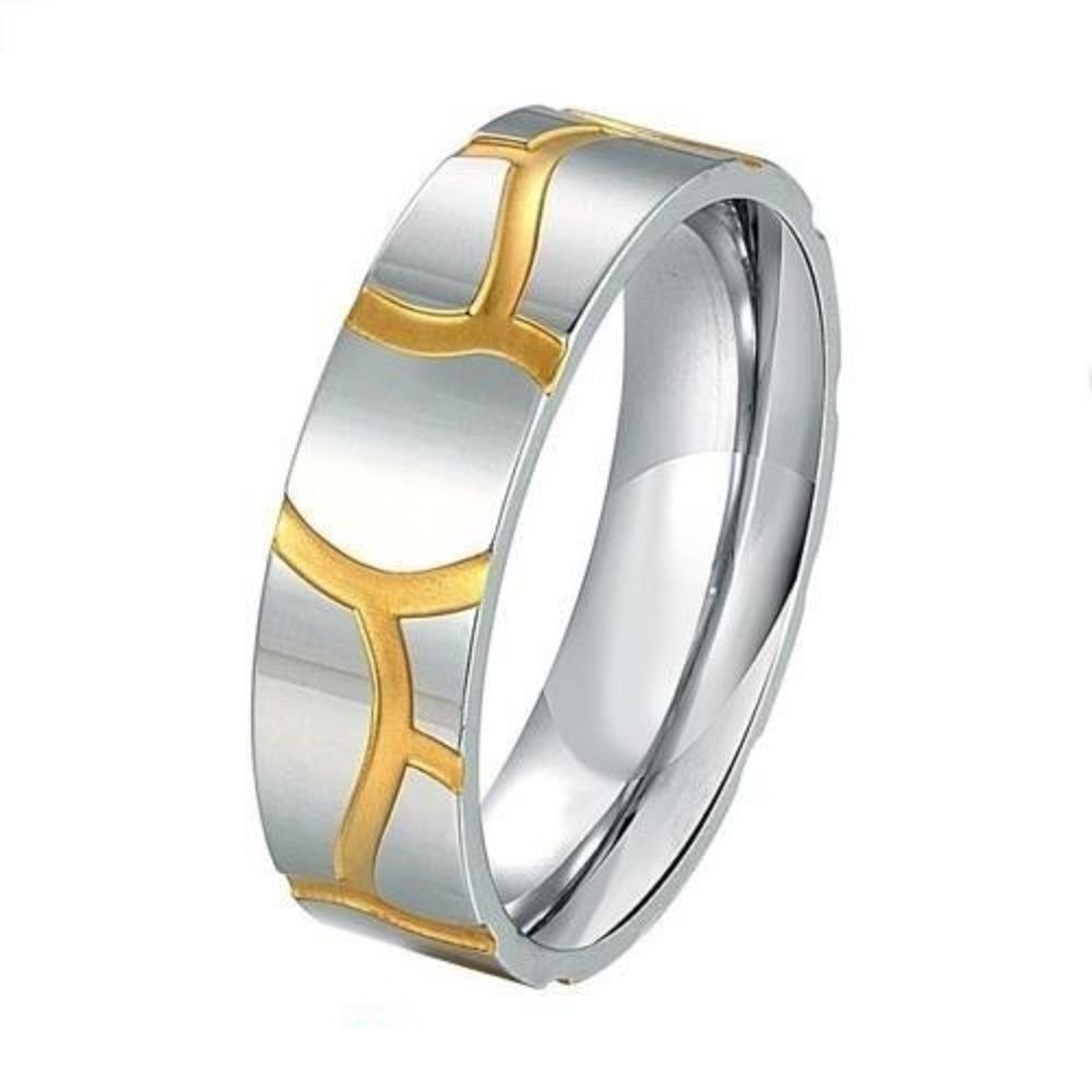 6mm Men Women 18K gold plated Promise Wedding Engagement Silver Ring Band
